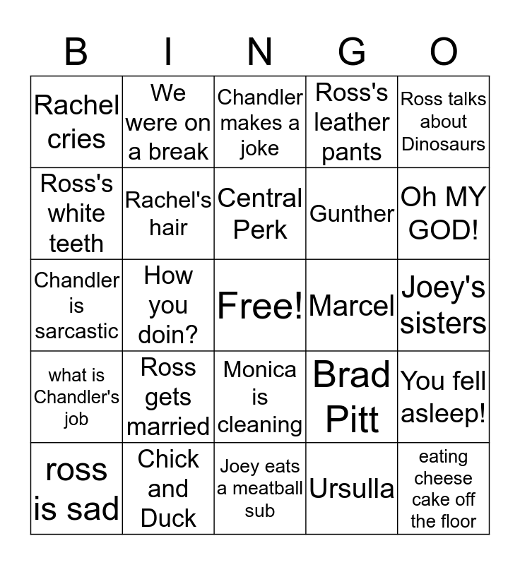 Friends Bingo Card