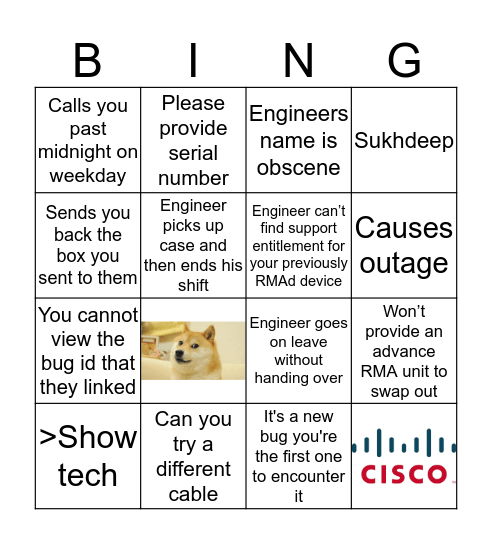 CISCO BINGO Card