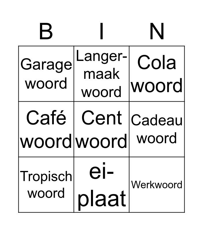 Spelling Categorieën Bingo Card
