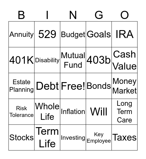 Money Bingo  Bingo Card