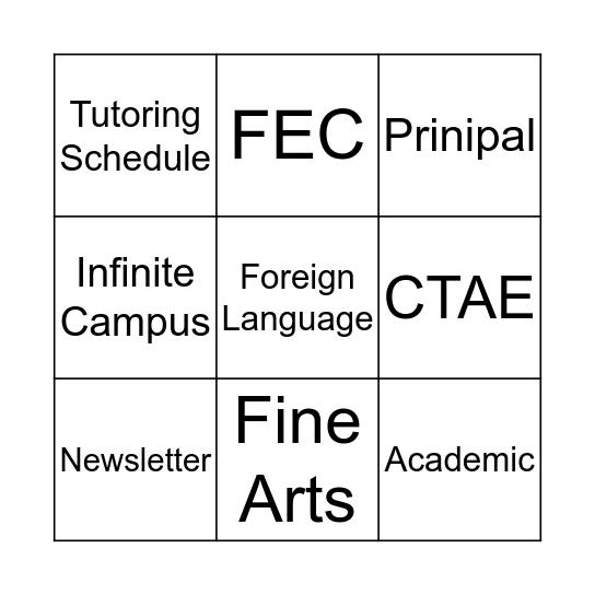 Taste of Curriculum Bingo Card