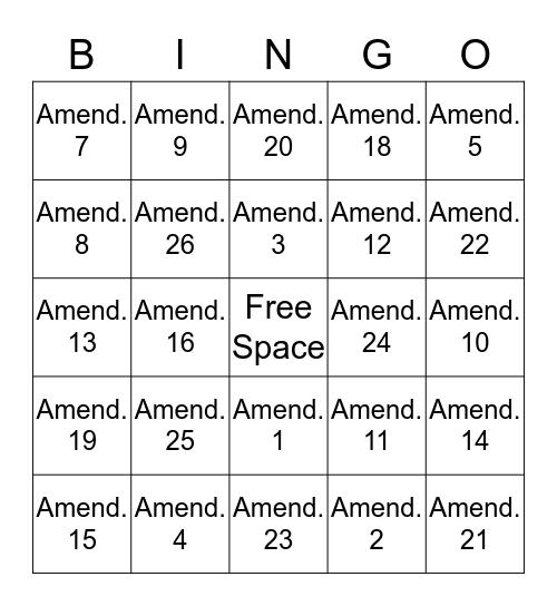 Amendments Bingo Card