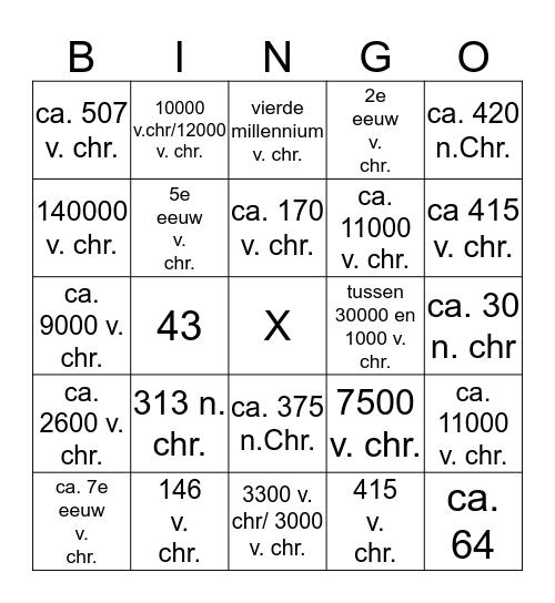 Jaartallenbingo tijdvak 1 & 2 Bingo Card