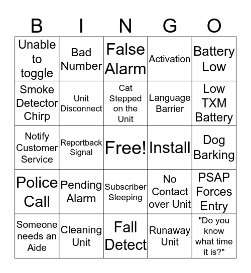 Graves Bingo Card