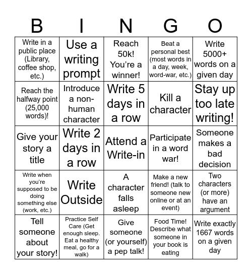 NaNoWriMo Bingo Card