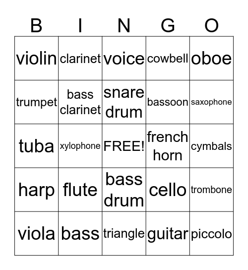 Music instrument bingo Card