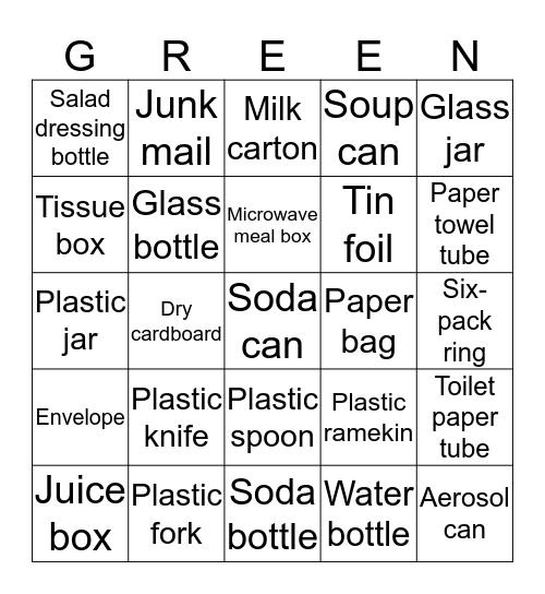 Recycle Bingo Card