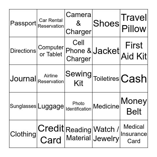Bon Voyage Bingo Card