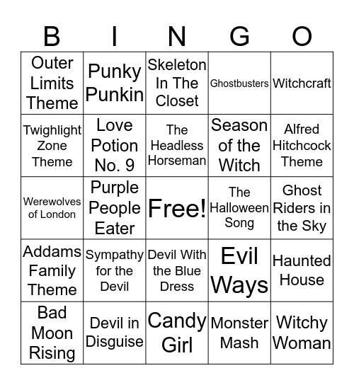 Halloween Music Bingo Card