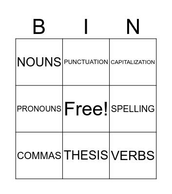 Editing Bingo Card