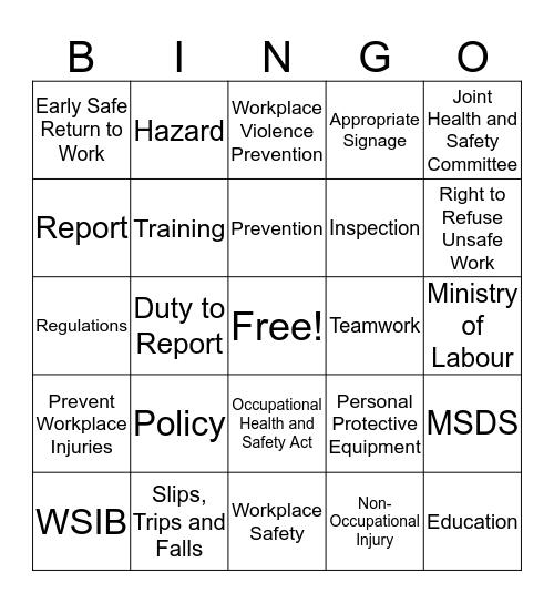 Health and Safety Week Bingo Card