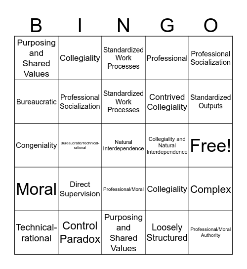 Collegiality Bingo Card