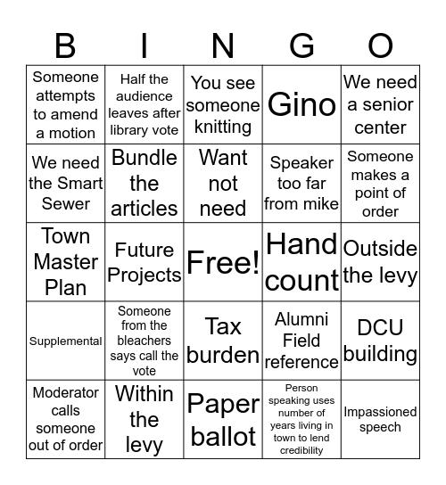 2019 Town Meeting Bingo Card