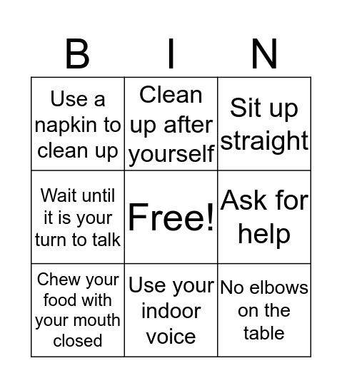 Manners Bingo Card