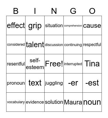 G 4, U1, W2: THE TALENT SHOW Bingo Card