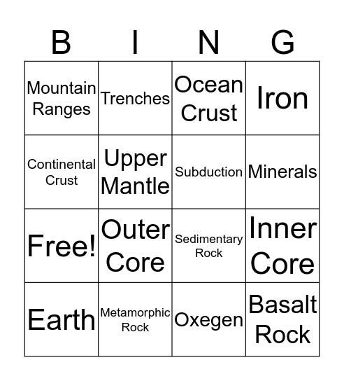 Crust Bingo Card