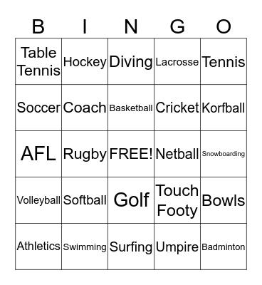 Sport Bingo Card