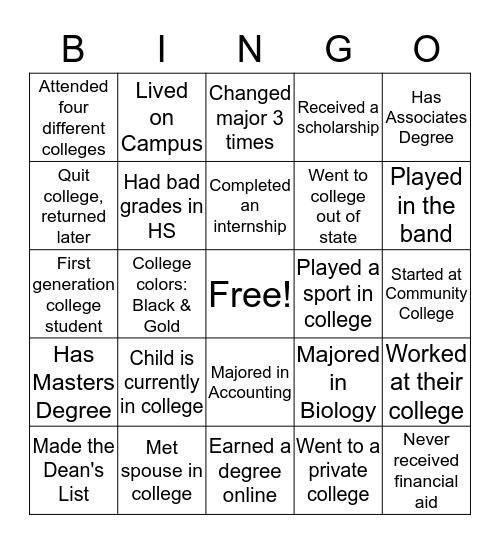 College Month Bingo Card