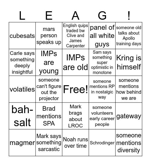 LEAG2019 Bingo Card