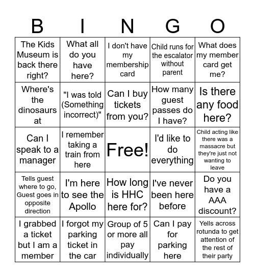 Museum Center Bingo Pt. 2 Bingo Card