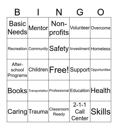 United Way Bingo! Bingo Card