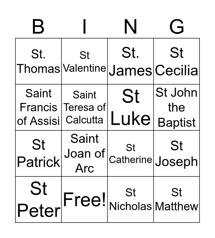 Saint Bingo Card