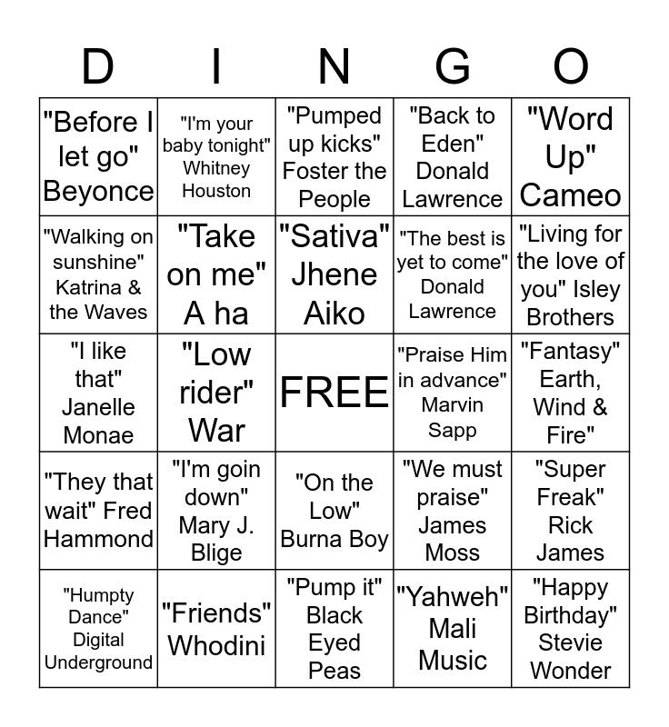Deja's Playlist Favorites Bingo Card