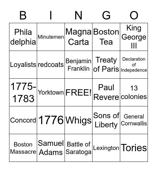 Revolutionary War Bingo Card