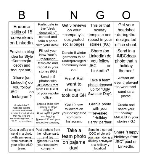 JBC Social Bingo: Holiday Edition!  Bingo Card