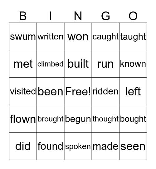 Past participle Bingo Card