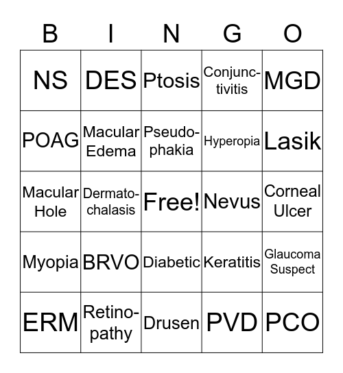 North Idaho Eye Institute Bingo Card
