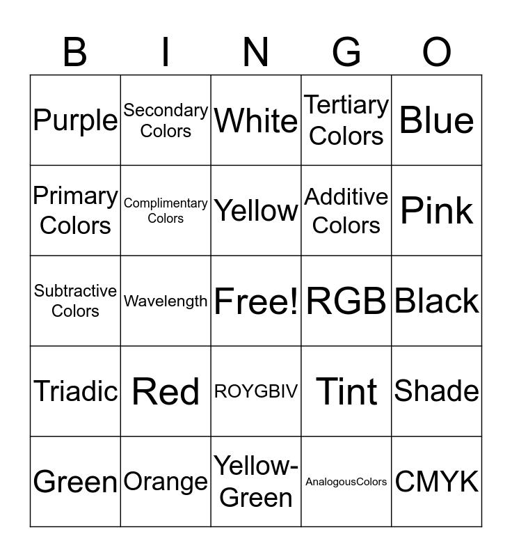 Color Review Bingo Card