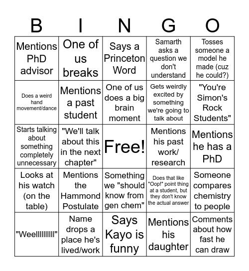 Orgo Bingo Card