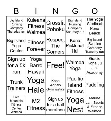 lululemon Kona get your sweat on Bingo Card