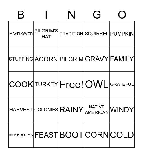 Harvest Bingo Card