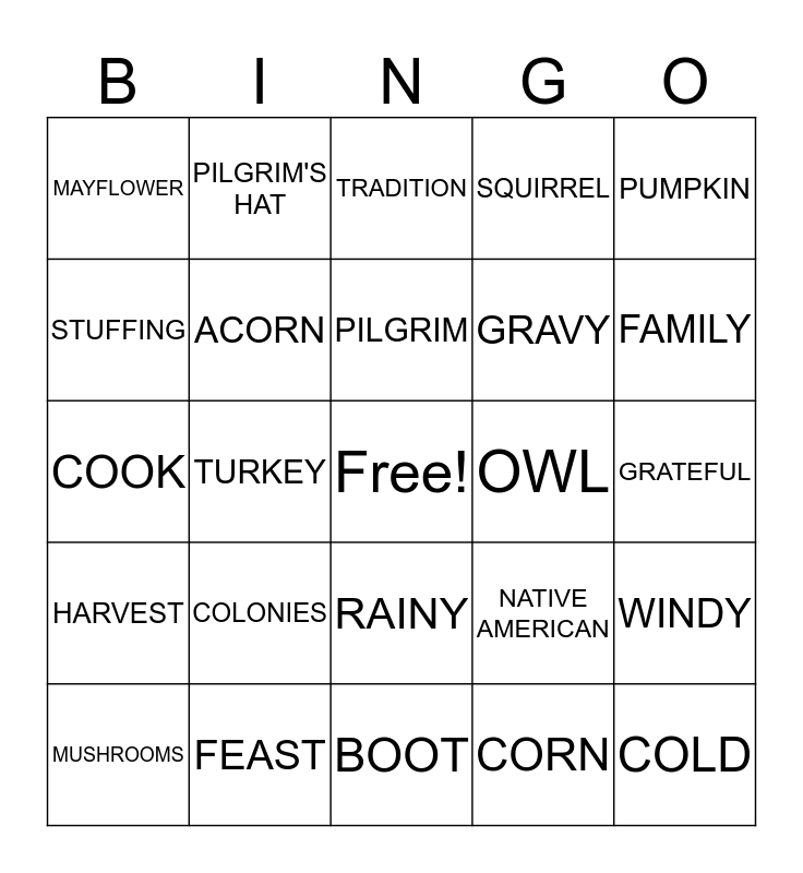 Harvest Bingo Card