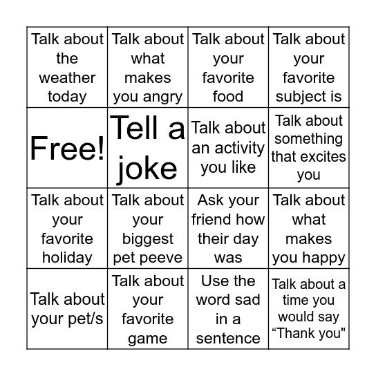 Conversational Bingo Card