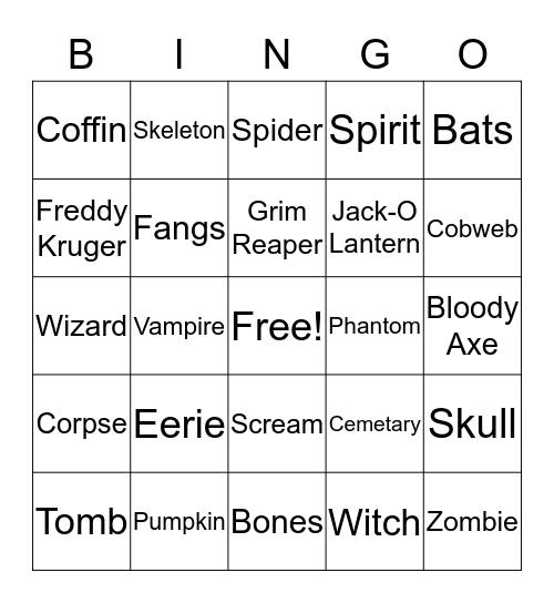 Halloween Bringo Bingo Card