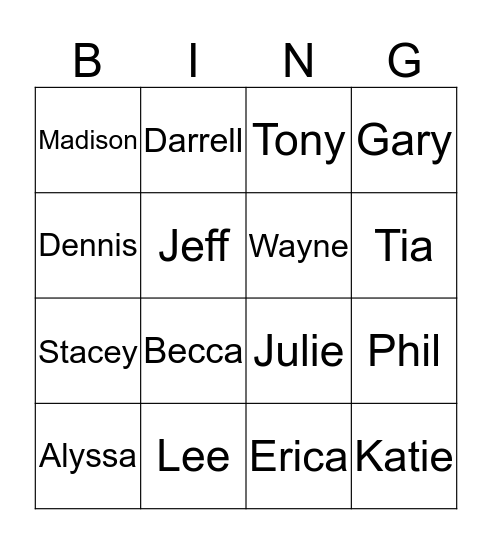 Who is this? Bingo Card