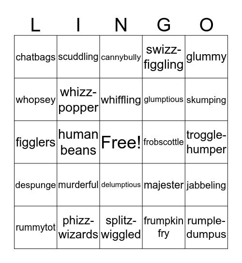 The BFG  Bingo Card