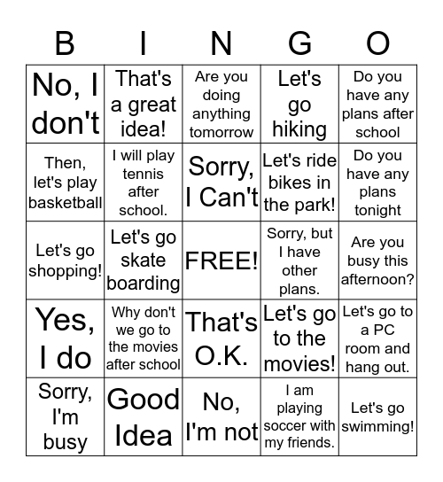 Unit 3: Go Out and Get Sunlight Bingo Card