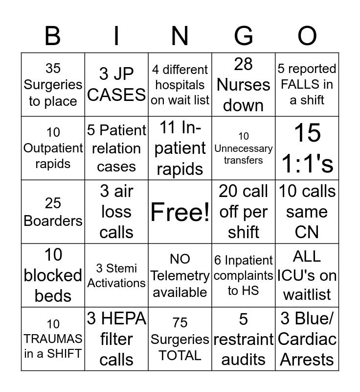 HOSPITAL SUPERVISOR BINGO Card