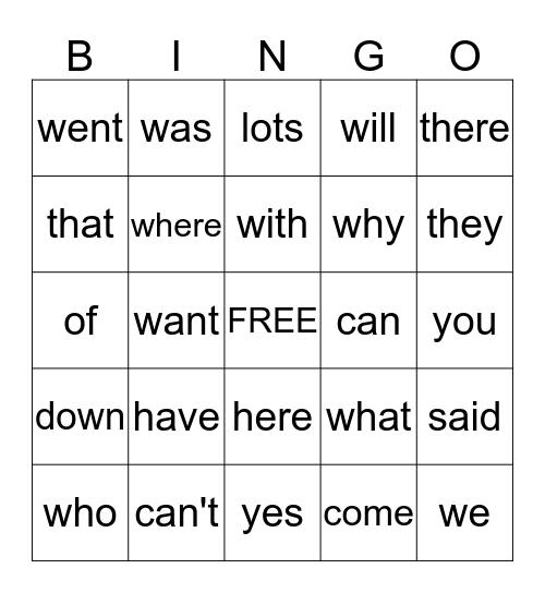 1-G      P O W E R W O R D S Bingo Card