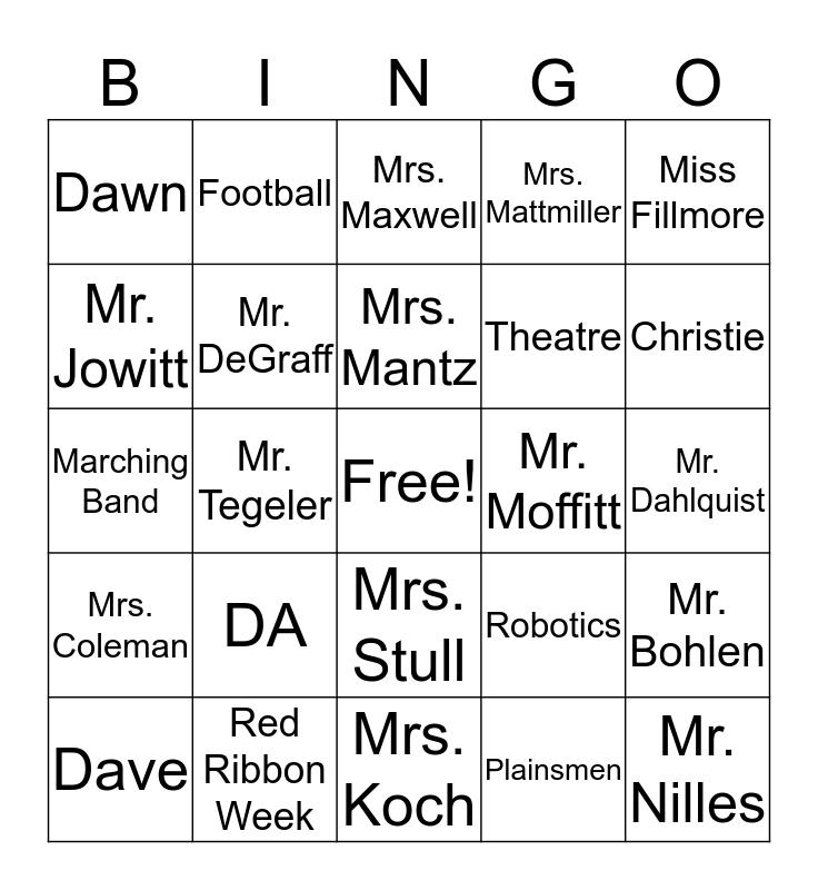 BPHS Bingo Card