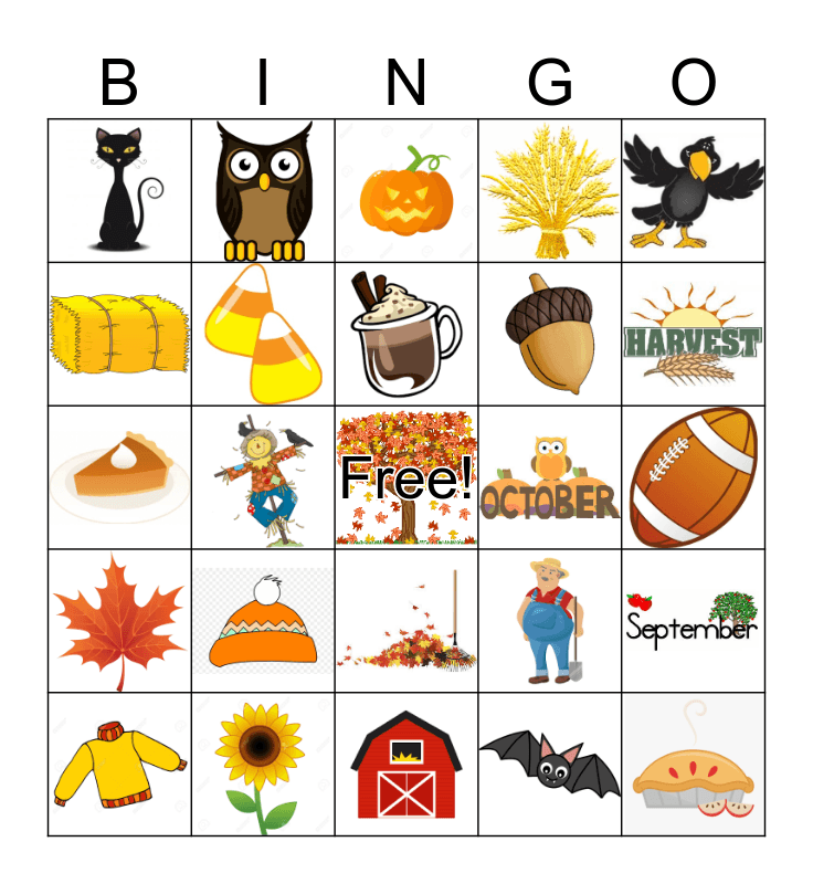 FALL Bingo Card