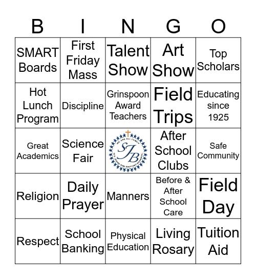 SJB School Bingo Card