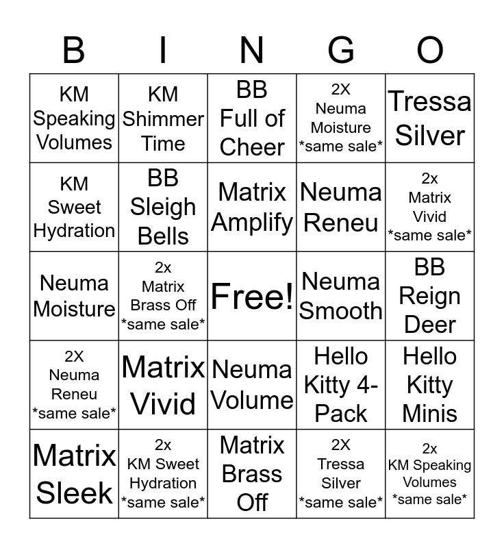 Q Hair Christmas Bingo Card