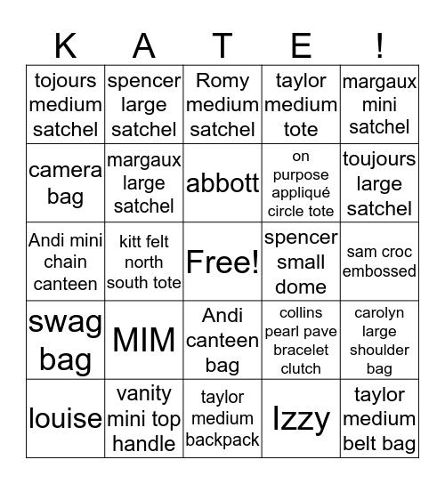Handbag Bingo  Bingo Card