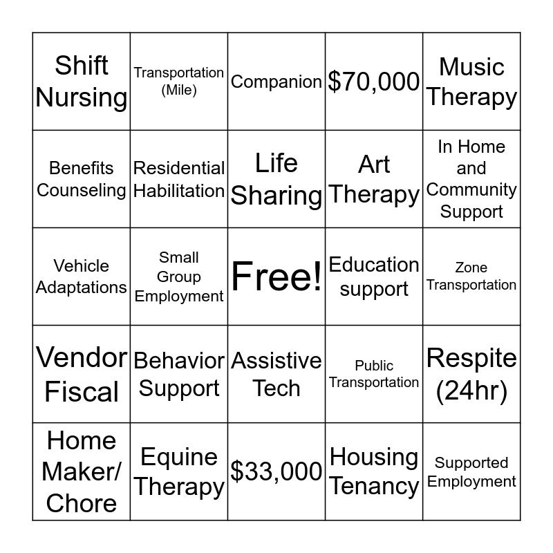 Service Definition Bingo Card