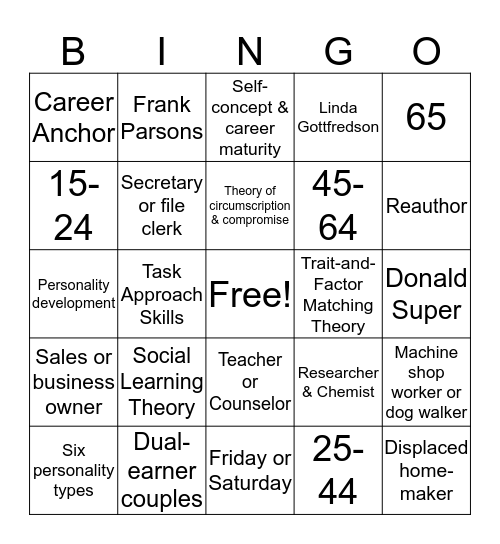 CAREER COUNSELING BINGO! Bingo Card